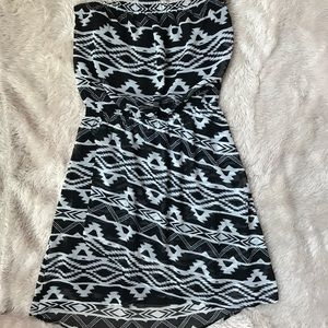 Printed Black and White Strapless Dress Express